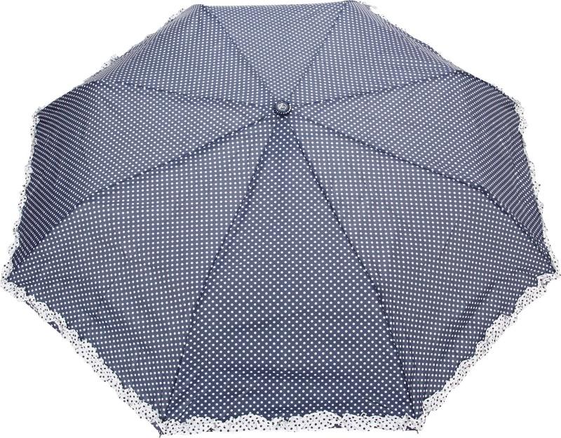 FabSeasons Polka Dot Print with lace Umbrella(Navy Blue)