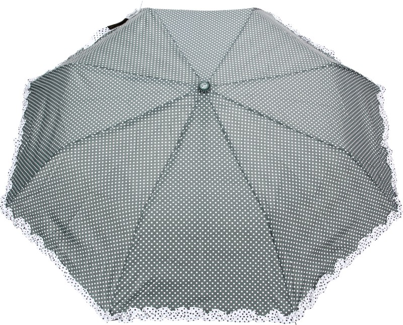 FabSeasons Polka Dot Print with lace Umbrella(Green)