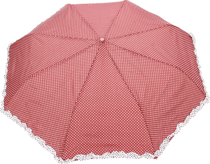 FabSeasons Polka Dot Print with lace Umbrella(Maroon)
