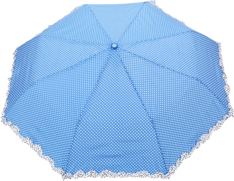 FabSeasons Polka Dot Print with lace Umbrella(Blue)