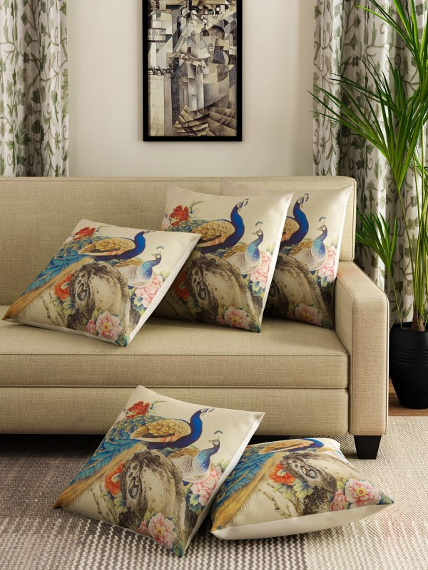 Romee Printed Cushions Cover(Pack of 5, 40 cm*40 cm, Multicolor)