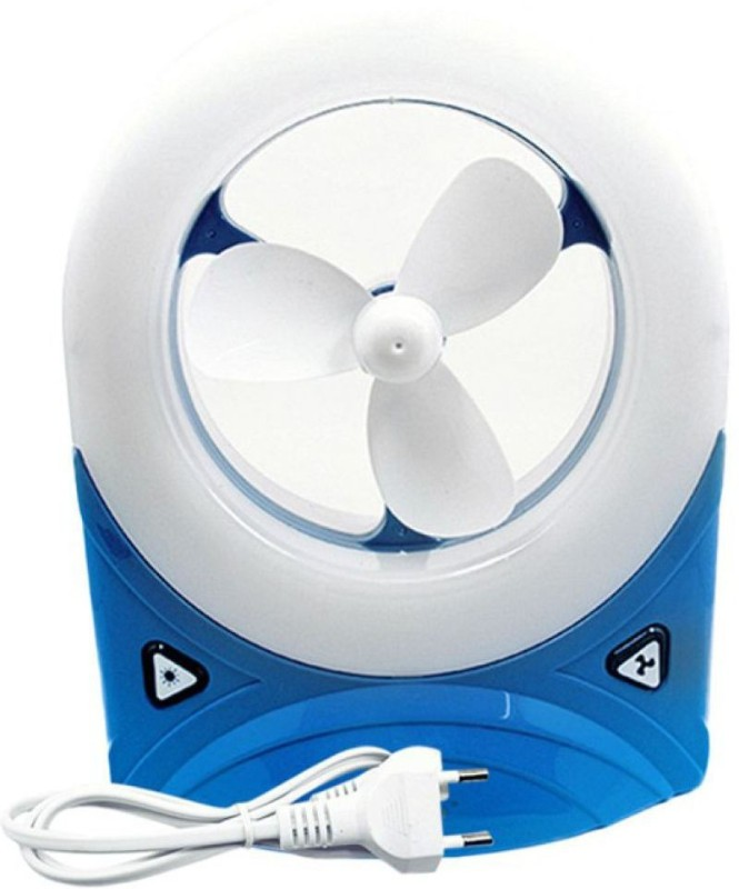 Grind Sapphire 5560, JY Super Rechargeable Fan With Led Light 3 Blade Table Fan(Multi Color)