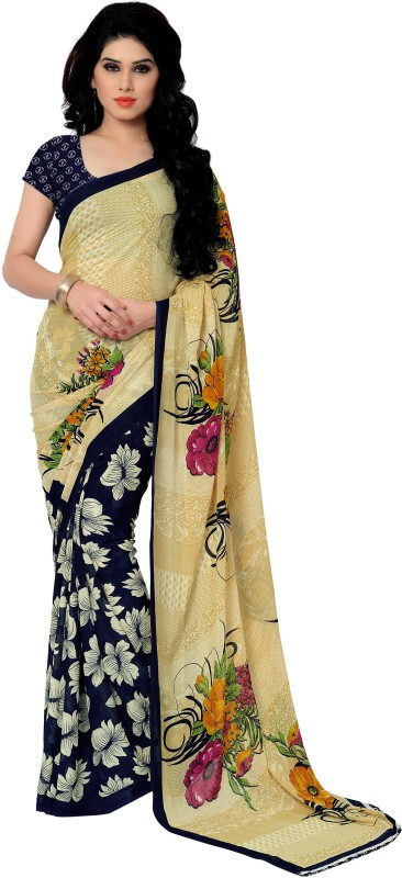 Anand Sarees Printed Daily Wear Georgette Saree(Blue)