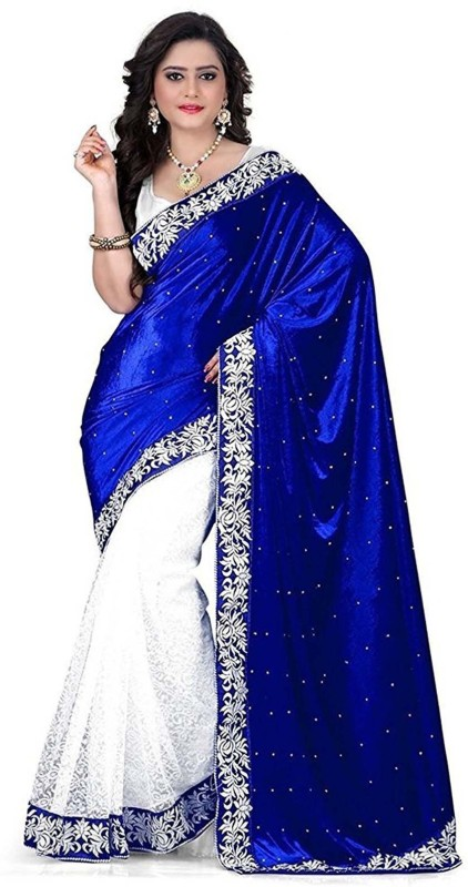 3Buddy Fashion Solid, Self Design Bollywood Velvet, Brasso Saree(Blue, White)