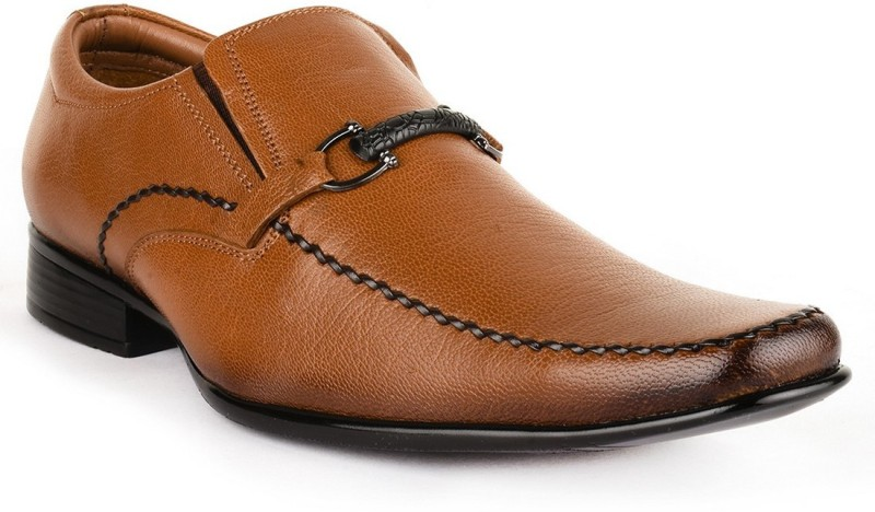 Buckle Up Formal Leather Shoes Slip On(Tan)