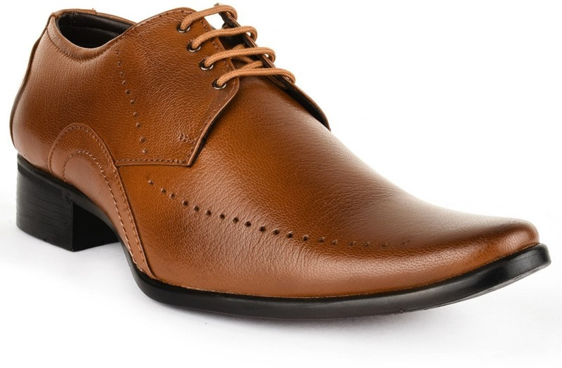 Buckle Up Formal Leather Shoes Lace Up For Men(Tan)