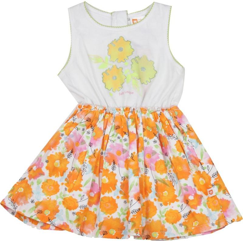 612 League Girls Casual Dress(Orange, Sleeveless)