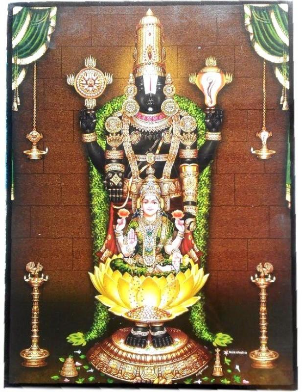 Divine Temples Shri Tirupati With Goddess Laxmi Religious Frame