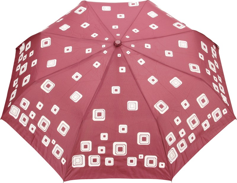 FabSeasons Abstract Squares Print Umbrella(Maroon)