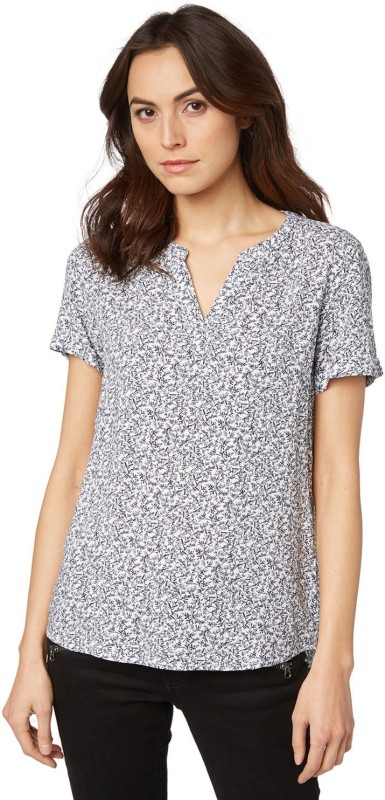 Tom Tailor Casual Half Sleeve Printed Women's White Top