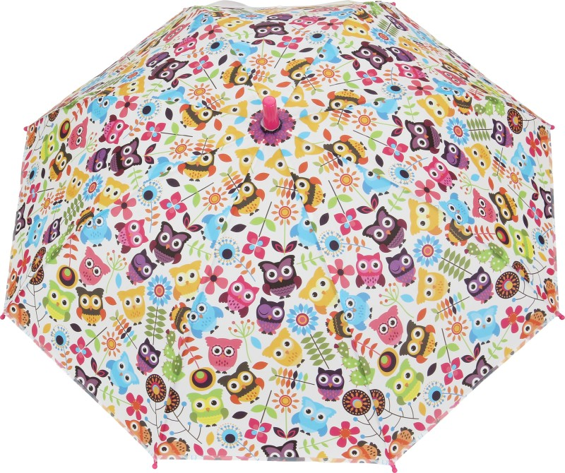 FabSeasons Owl Faced Print for Kids Umbrella(Pink)