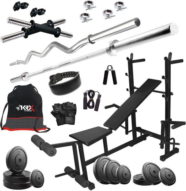 KRX 105 KG COMBO 36 WITH 8 IN 1 MULTIPURPOSE BENCH, Home Gym Kit