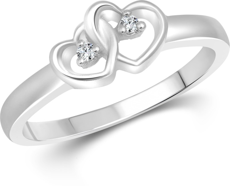 Vighnaharta Dual Heart Alloy Cubic Zirconia 18K White Gold Plated Ring