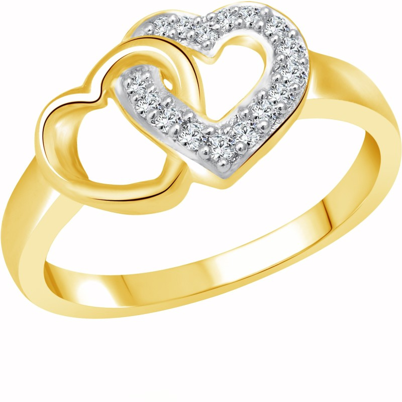 Vighnaharta U & Me Heart Alloy Cubic Zirconia Gold-plated Plated Ring