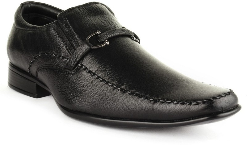 Buckle Up Formal Leather Shoes Slip On(Black)