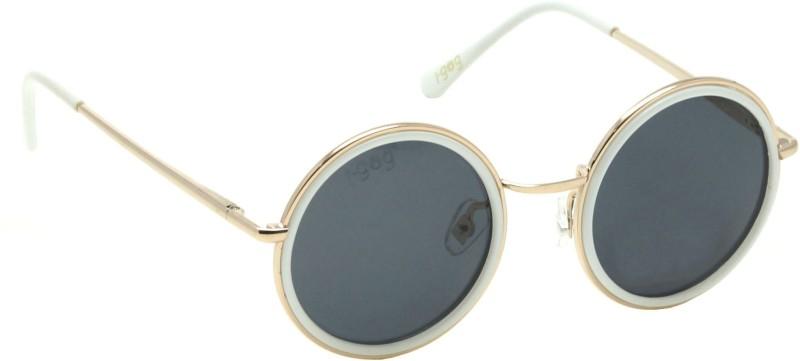 I-GOG IG-9541-GL-WT-BL Baby Kids (Age 4 to 14) Polarized Round Sunglasses(Black)