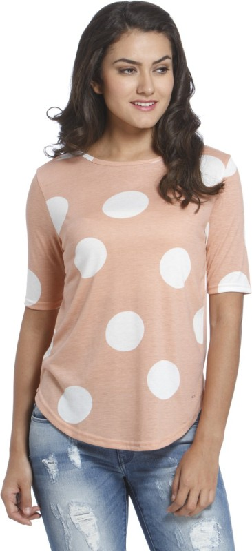 Only Casual Short Sleeve Polka Print Women Beige Top