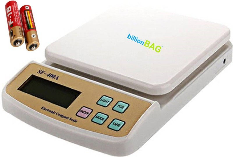 Billionbag Advanced SF 400A 10 Kg With Battery Digital Household Use And Backlight Weighing Scale(White)