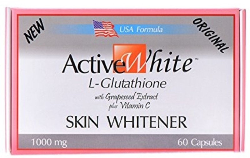 Active White L-Glutathione with Grapeseed Extract, Vitamin C Skin Whitener - 60 Caps(0.3 g)