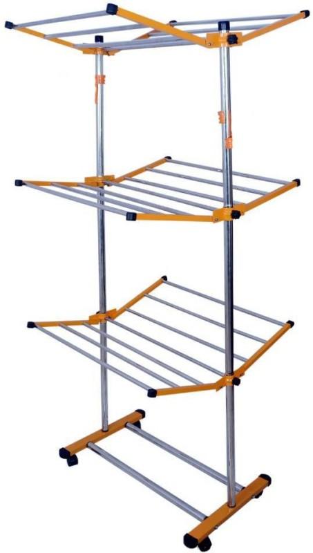 LAKSHAY 3 tier foldable Stainless Steel Floor Cloth Dryer Stand(Orange)