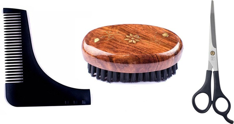 Majik Beard Shaping comb Beard Brush + Beard Comb + Scissor(Set of)