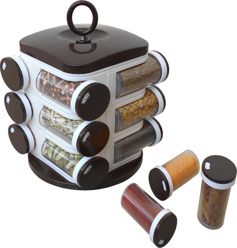 WCSE 8-Jar Revolving Spice Rack Masala Box Condiment Set(Plastic)