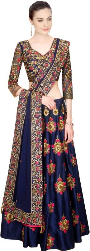 Fabkaz Embroidered Lehenga Choli(Blue)