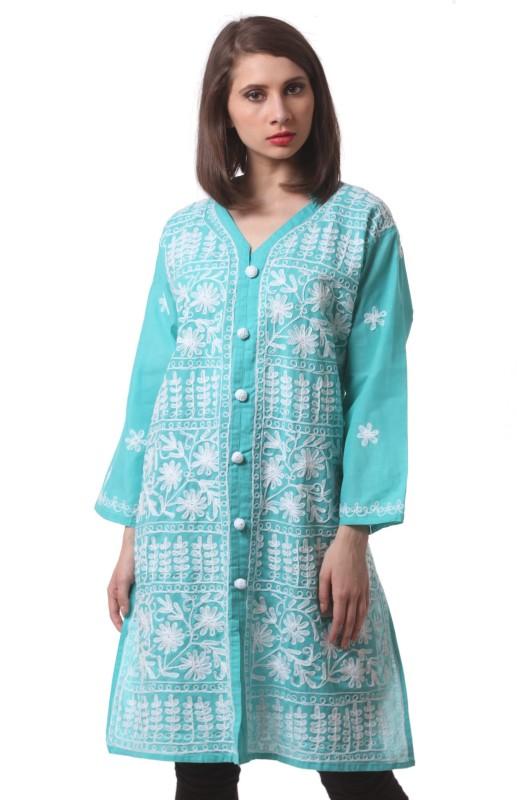 SAADGI Women Chikan Embroidery Straight Kurta(Green)