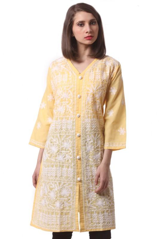 Saadgi Chikan Embroidery Women Straight Kurta(Yellow)