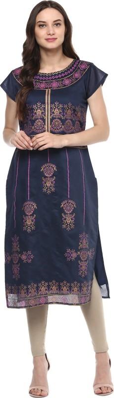 INDIMANIA Women Self Design Straight Kurta(Blue)