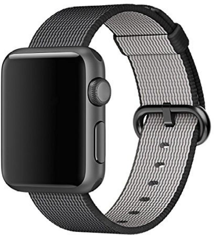 ShopAis Nylon Watch Band, Sports Royal Woven Nylon Wrist Band Strap Bracelet For 42mm Watch Fits 145-215mm wrists-Black Smart Watch Strap(Black)