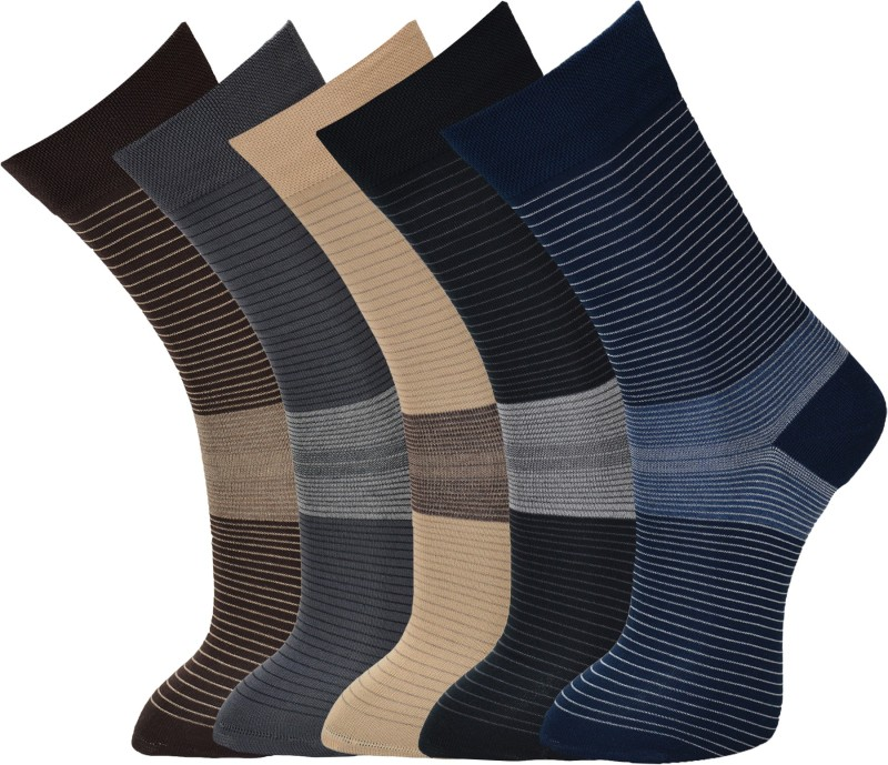 Vinenzia Mens Graphic Print Crew Length Socks(Pack of 5)