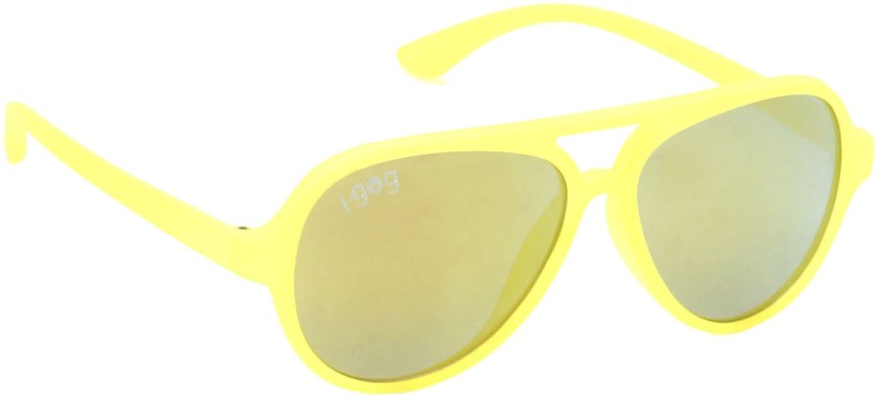 I-GOG IG-570-YL-YLM Baby Kids (Age 4 to 14) Mirror Aviator Sunglasses(Golden, Multicolor)