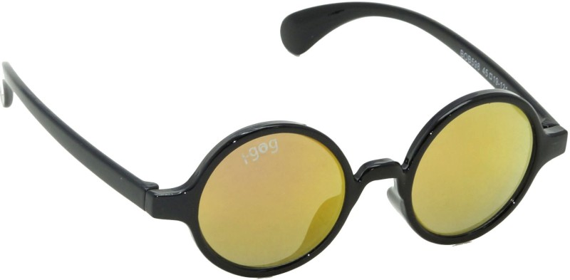 I-GOG IG-598-BL-PKM Baby Kids (Age 4 to 14) Mirror Round Sunglasses(Red, Yellow)