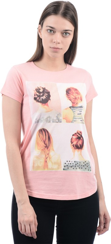Pepe Jeans Graphic Print Women's Round Neck Pink T-Shirt