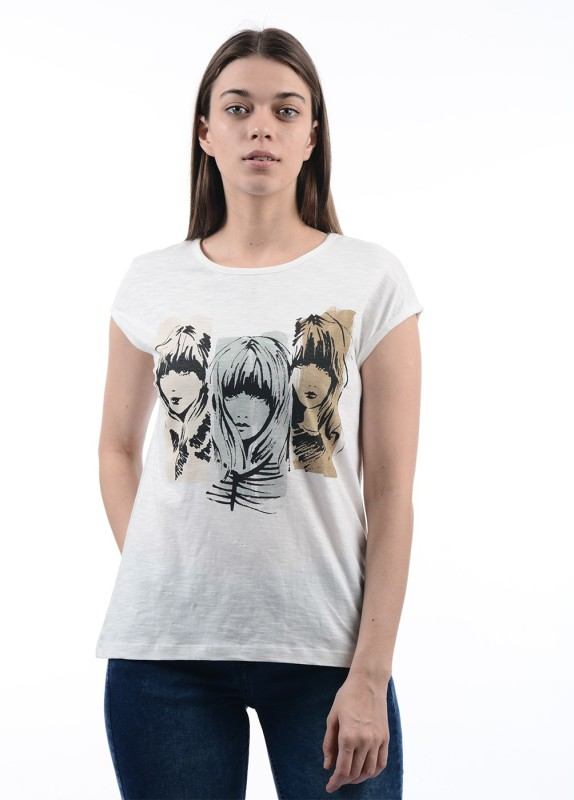 Pepe Jeans Graphic Print Women's Round Neck White T-Shirt