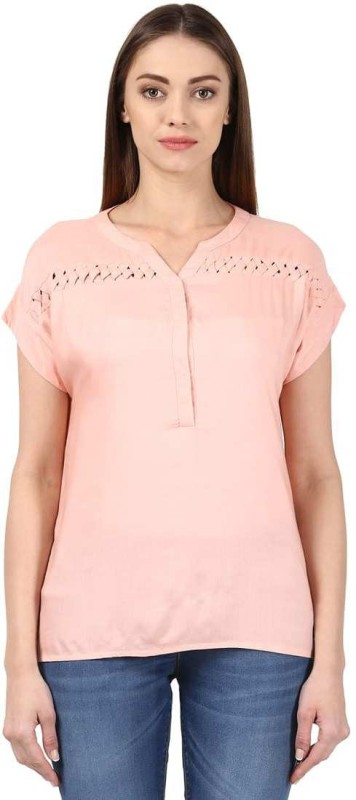 Park Avenue Casual Half Sleeve Solid Women's Orange Top