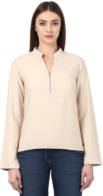Park Avenue Casual Full Sleeve Solid Womens Beige Top