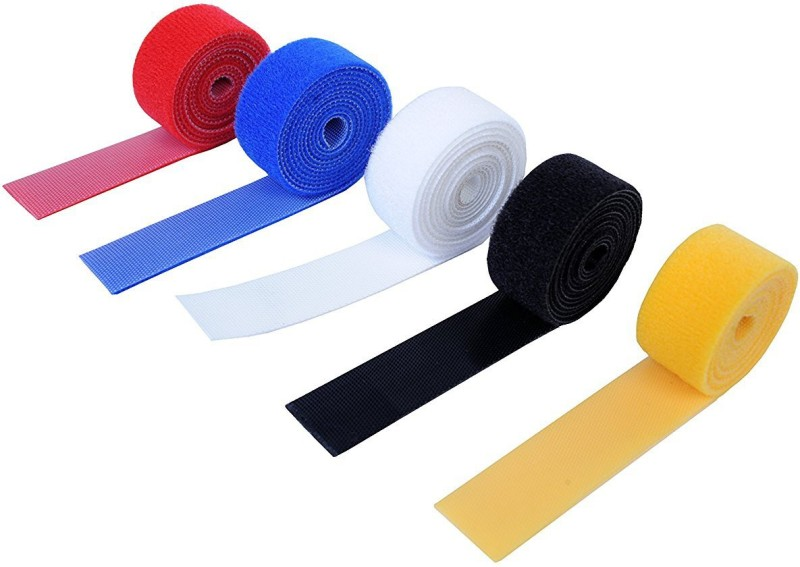 Vardhman Self Gripping Multi-Purpose Hook and Loop Tape, Reusable,0.75 Inches, 5 colors, 2 mts each total 10 mts Sew-on Velcro(Multicolor)