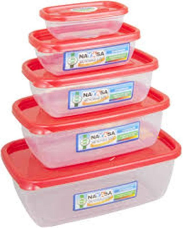 Nayasa Snowpearl 5 Airtight - 1800 ml, 1100 ml, 680 ml, 300 ml, 150 ml Polypropylene Grocery Container(Pack of 5, Pink, Clear)
