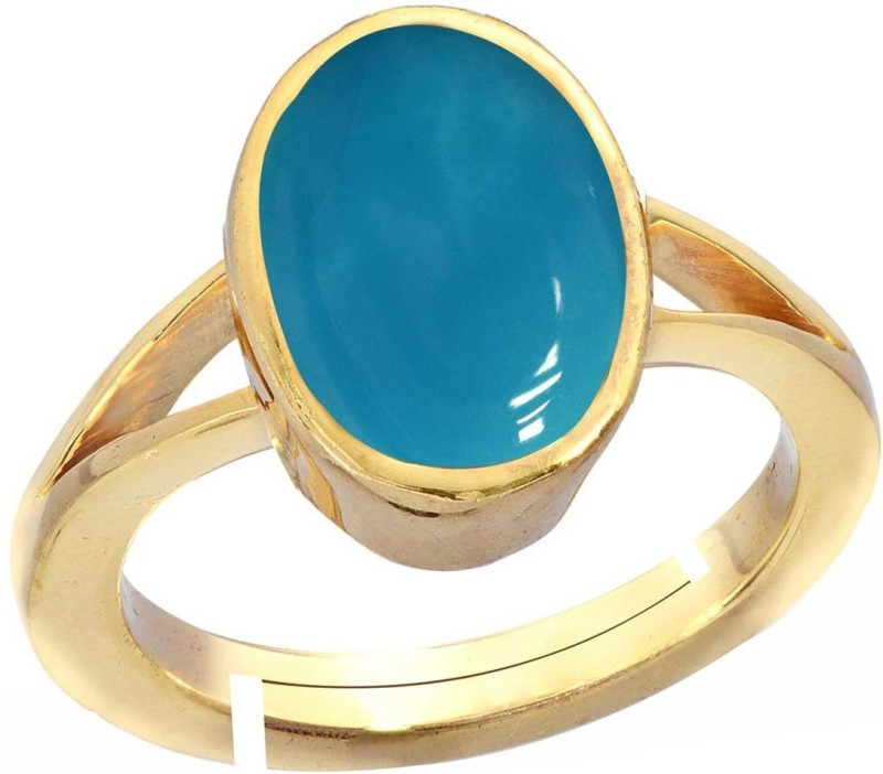 Gemorio Turquoise Firoza 3cts or 3.25ratti Panchdhatu For Men Silver Turquoise Gold-plated Plated Ring