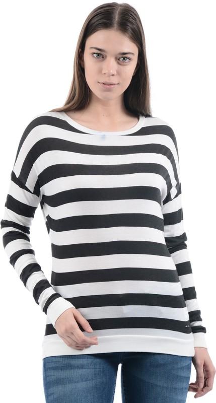 Pepe Jeans Striped Women Round Neck White, Black T-Shirt