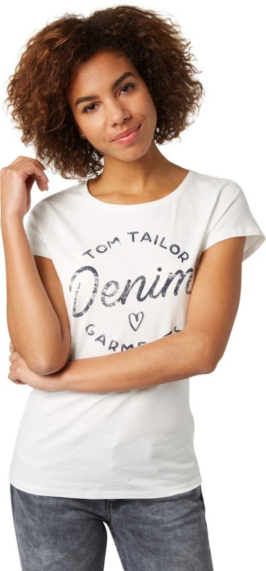 Tom Tailor Solid Women's Round Neck White T-Shirt