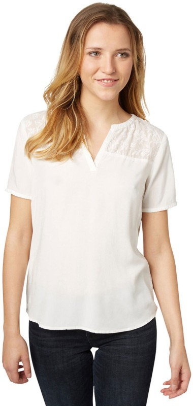 Tom Tailor Casual Half Sleeve Solid Women's White Top