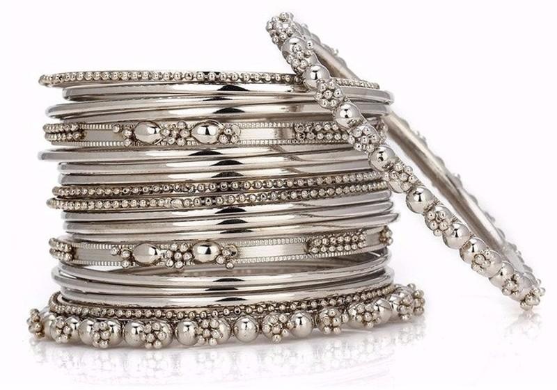 Archi Collection Alloy Silver Bangle Set