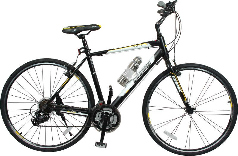 COSMIC SHUFFLE 700 C ALLOY HYBRID BICYCLE BLACK / YELLOW - SPECIAL EDITION SHUFFLE28 Hybrid Cycle(Black, Yellow)