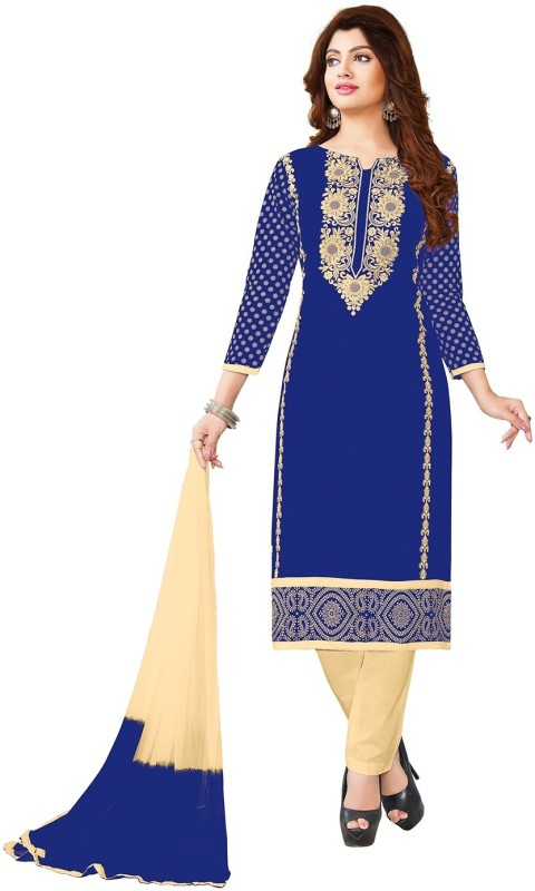 Jevi Prints Cotton Embroidered Salwar Suit Dupatta Material(Un-stitched)