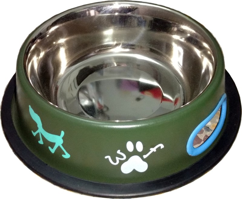 Petshop7 Green 700 ML Medium Dog Round Stainless Steel Pet Bowl & Bottle(700 L Green)