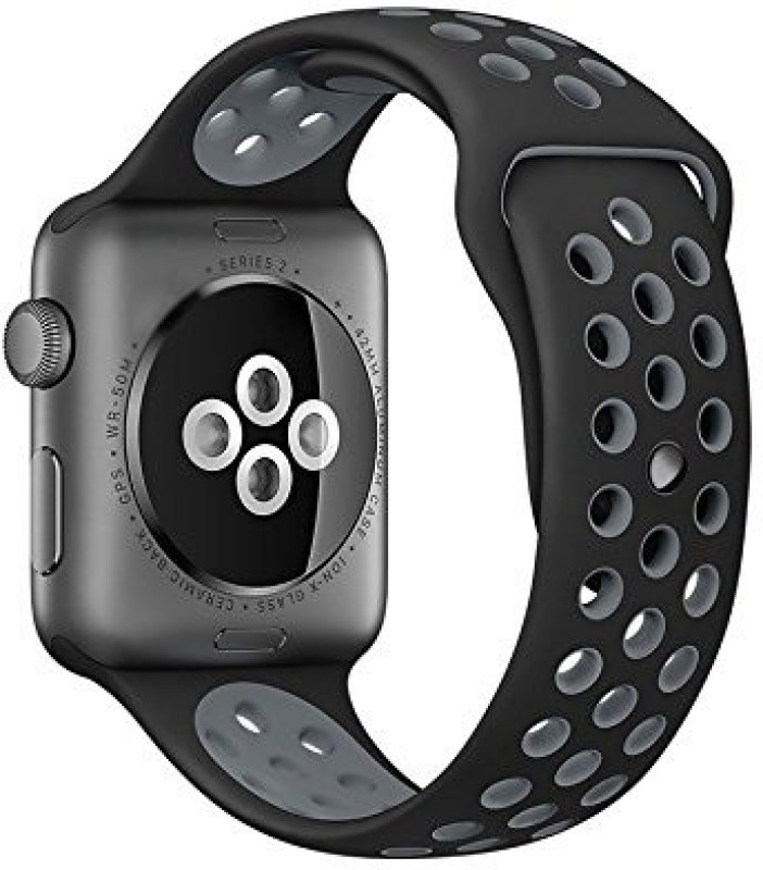 ShopAis iWatch Replacement Silcone Band Strap 42mm with Inbuilt Pin and Tuck Clasp (Dotted Pattern, Black & Gray) Smart Watch Strap(Mullti Color)