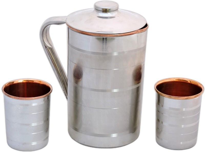Veda Home & Lifestyle VEDA STEEL COPPER LUXURY JUG SET Water Jug Set(2.4 L, Pack of 3)